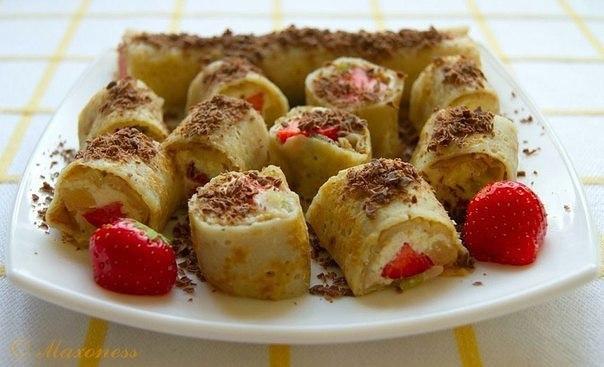 Вкусные и лёгкие сладкие роллы с творожно-фруктовой начинкой. Вкусные и лёгкие сладкие роллы 1